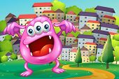 Illustration of a beanie monster shouting at the hilltop across the buildings
