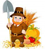 Illustration of cute pilgrim with spade