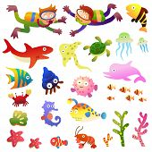 stock photo of aquatic animals  - Sea fishes and animals collection - JPG