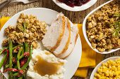 image of mashed potatoes  - Homemade Turkey Thanksgiving Dinner with Mashed Potatoes Stuffing and Corn - JPG