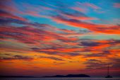 Ibiza san Antonio Abad de Portmany sunset in Balearic islands of spain