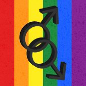 Homosexual love icon on rainbow background, male