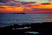 Ibiza san Antonio Abad de Portmany sunset with in Balearic islands of spain