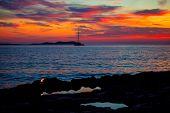 Ibiza san Antonio Abad de Portmany sunset with in Balearic islands of spain