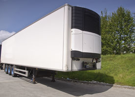 picture of b-double  - large modern refrigerated truck trailer freight place advert on white - JPG