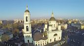 Temple of St. Sergius Radonezhsky (Trinity) in Rogozhskaya Sloboda at winter, Moscow, Russia. Aerial