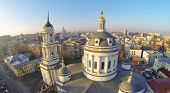 Beautiful Martin Confessor Church at winter sunny day in Moscow, Russia. Aerial view
