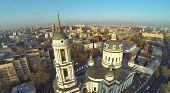 Bell tower and dome of Martin Confessor Church at winter in Moscow, Russia. Aerial view