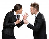 Two business people debate, isolated on white. Concept of competition and job competitive promotion