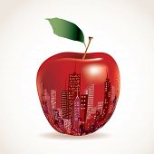 vector abstract big red apple, New York sign
