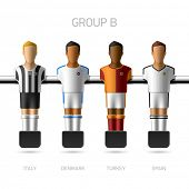 Table football, foosball players. Group B - Italy, Denmark, Turkey, Spain. Vector.