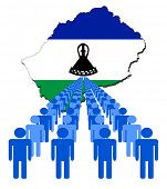 Lines of people with Lesotho map flag vector illustration