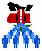 Lines of people with Kenya map flag vector illustration