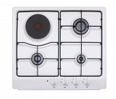 White gas-electric hob isolated on white