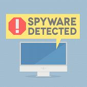 minimalistic illustration of a monitor with a spyware alert speech bubble, eps10 vector