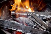 Charred Wood In The Fire