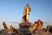 Niyazov Monument In Independence Park.  Ashkhabad. Turkmenistan.