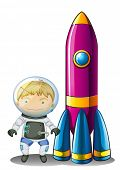 Illustration of an astronaut beside a rocket on a white background