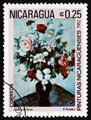 Postage Stamp Nicaragua 1982 Flower Arrangement, By R. Penalba