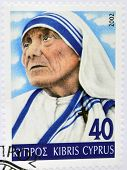 CYPRUS - CIRCA 2002: A stamp printed in Cyprus shows Mother Teresa of Calcutta circa 2002