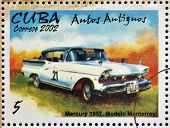 stamp printed in Cuba dedicated to retro car shows Mercury 1957 Monterrey model