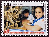 stamp dedicated to 50 anniversary of the triumph of the revolution, International Day of Children