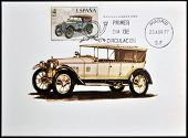A stamp printed in Spain shows a car Hispano Suiza 1916