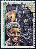 A stamp printed in Guinea shows portrait of Amilcar Cabral