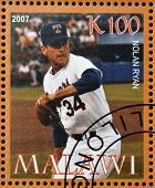 A stamp printed in Malawi dedicated to greatest baseball players shows Nolan Ryan