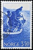 A stamp printed in Norway shows Sport Fishing