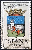 A stamp printed in Spain dedicated to Arms of Provincial Capitals shows Guadalajara
