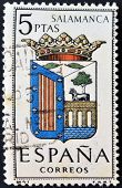 A stamp printed in Spain dedicated to Arms of Provincial Capitals shows Salamanca