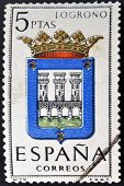A stamp printed in Spain dedicated to Arms of Provincial Capitals shows Logrono