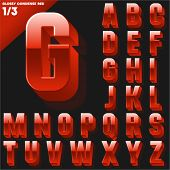 Vector alphabet of simple 3d glossy letters. Condensed. Red Upper cases