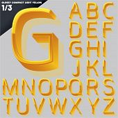 Vector alphabet of simple 3d glossy letters. Compact light. Yellow Upper cases