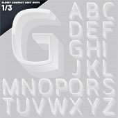 Vector alphabet of simple 3d glossy letters. Compact light. White Upper cases