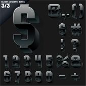 Vector alphabet of simple 3d glossy letters. Condensed. Black Symbols