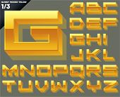 Vector alphabet of simple 3d glossy letters. Techno. Upper cases Yellow