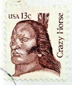 A stamp printed in USA shows Crazy Horse (1840-1877) an Oglala Lakota Sioux leader