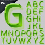 Vector alphabet of simple 3d glossy letters. Compact light. Green Upper cases