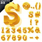 Vector alphabet of simple 3d glossy letters. Slab. Yellow Symbols