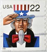 A stamp printed in USA shows Uncle Sam