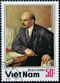 stamp shows Lenin a Russian revolutionary Bolshevik leader communist