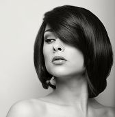 Beautiful Woman With Short Black Hair. Hair Style. Black And White Portrait