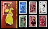 Stamps printed in Cuba dedicated to Afro-Cuban dance and Yoruba gods