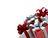 foto of christmas-present  - 3d Render of red and white christmas gift boxes - JPG