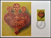 stamp shows Decorative heart for the driving of Cattle from alpine pastures