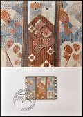 stamp dedicated to embroideries by Ferdinand Nigg shows Christmas