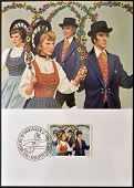 stamp dedicated to traditional costumes shows Folk Dance Group at Schellenberg