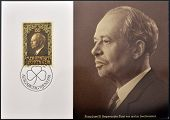 stamp printed in Liechtenstein shows Prince Franz Josef II